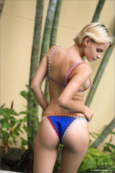 Blonde bikini model Ariel fantastic bikini figure